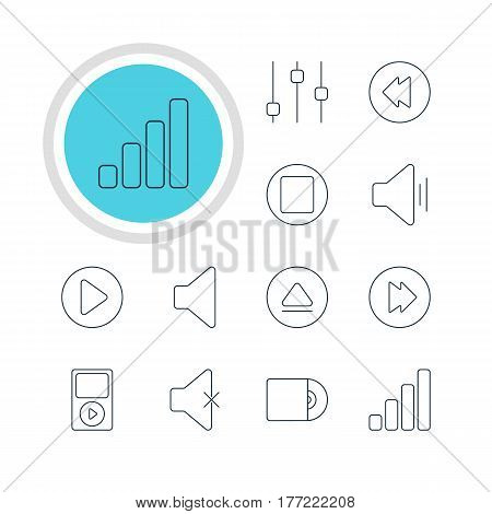 Vector Illustration Of 12 Melody Icons. Editable Pack Of Compact Disk, Soundless, Acoustic And Other Elements.