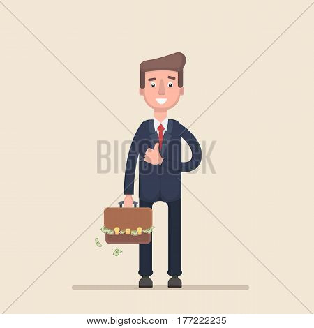 Businessman with a suitcase of money. Vector illustration in a flat style.