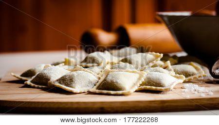 close up of italian home made ravioli