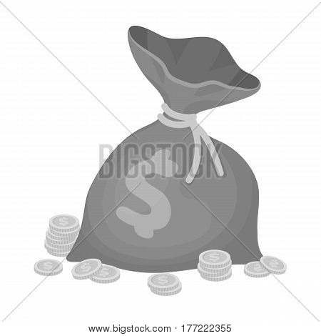 A brown bag with coins and dollars. Win in the casino.Kasino single icon in monochrome style vector symbol illustration.