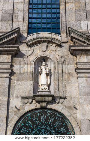 Close up of catholic Carmelite Church in Porto Portugal
