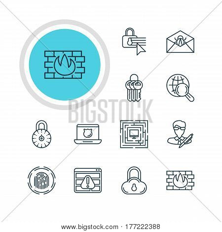 Vector Illustration Of 12 Privacy Icons. Editable Pack Of Key Collection, Confidentiality Options, Safe Storage And Other Elements.