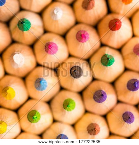 Macro shot of colored pencils - shallow depth of field