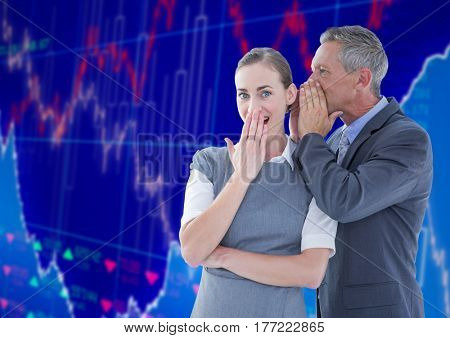 Digital composite of Businessman Standing in front of Graph speaking to woman ear against blue background