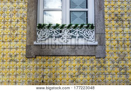 Details of residential building on Dom Manuel II Street in Porto city Portugal