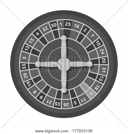 Roulette with red and black cells. The most popular casino game in the world.Kasino single icon in monochrome style vector symbol stock web illustration.