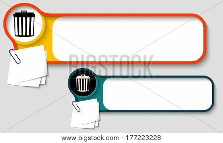 Vector text frames for any text with paper clips and trashcan icon