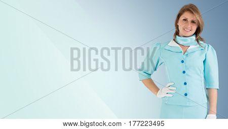 Digital composite of Travel agent aigainst a blue colour background