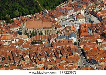 Aerial View Of The Council Square Of Brasov Town, Transylvania, Romania
