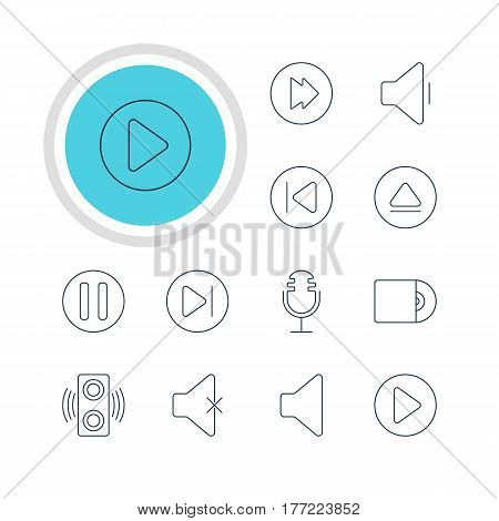 Vector Illustration Of 12 Music Icons. Editable Pack Of Subsequent, Soundless, Lag And Other Elements.
