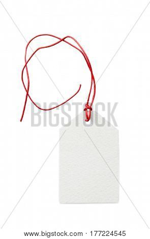 Card with ribbon on white background