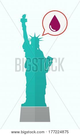 Isolated Statue Of Liberty With A Blood Drop