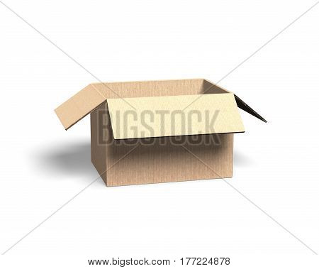 Opened cardboard box isolated on white background side view 3D illustration.