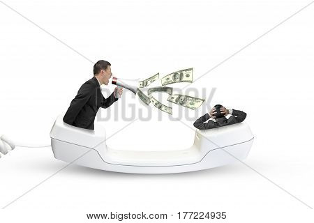 Telephone Handset With Businessman Yelling At Another Man