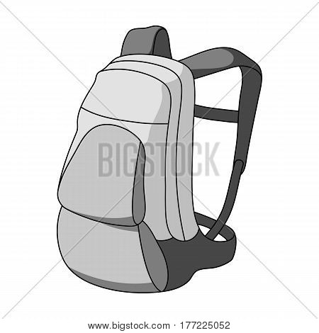 A portfolio of bicycles for carrying things behind.Cyclist outfit single icon in monochrome style vector symbol stock web illustration.
