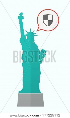 Isolated Statue Of Liberty With A Shield
