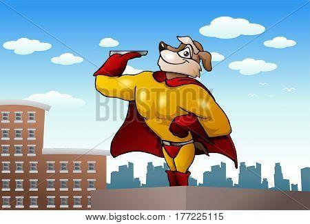 illustration of a big super dog holding empty steel tray on city background