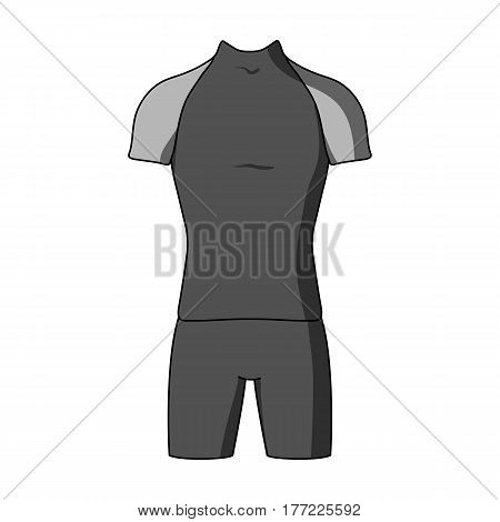 A cycling suit for riding a bicycle. Clothes cycling.Cyclist outfit single icon in monochrome style vector symbol stock web illustration.