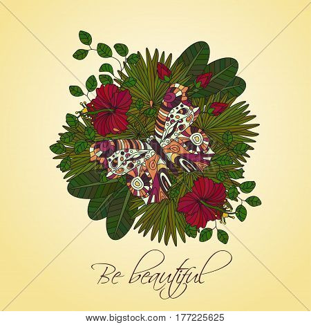 Round vector ornament with tropical hibiscus flowers and butterfly. Cloring page for adults.