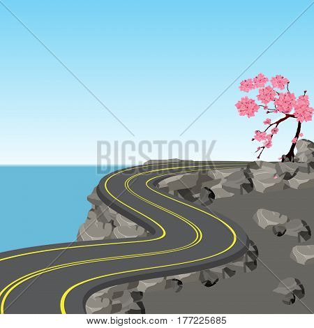 A winding road with markings among rocks and stones. Blossoming cherry tree. Sakura. View in perspective. Vector illustration