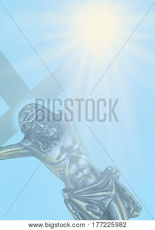 He gave us his Light - Symbolic Jesus on the cross with his left hand disappearing into a a bright star on a blue background