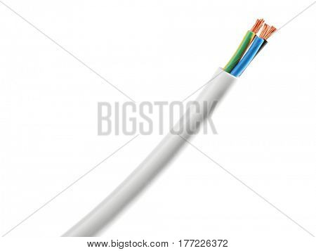 Electric cable isolated on white