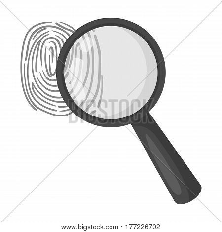 Magnifier and fingerprint. Detection of criminals by fingerprint.Prison single icon in monochrome style vector symbol stock web illustration.