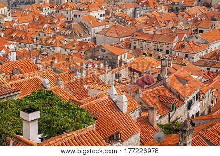 view from the City Walls to the red roofs in the Old town of Dubrovnik, South Dalmatia, Croatia