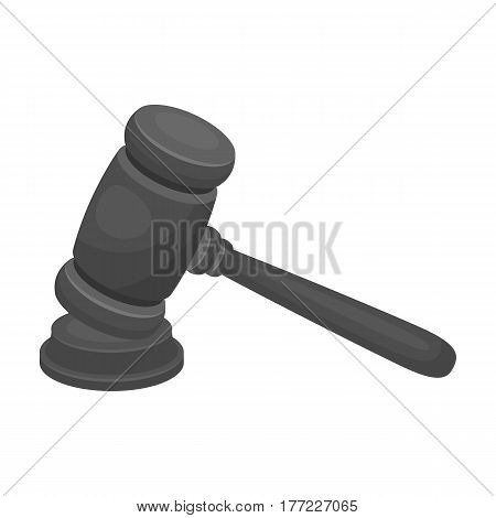 Judge wooden hammer. Hammer for deducing the verdict to the criminal.Prison single icon in monochrome style vector symbol stock web illustration.