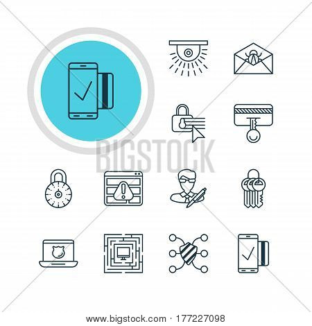 Vector Illustration Of 12 Protection Icons. Editable Pack Of Data Security, Safety Key, Key Collection And Other Elements.