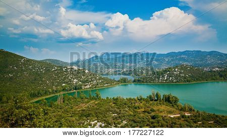 beautiful landscape with Bacinska Lakes surrounded by mountains, Croatia