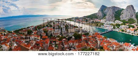 panoramic landscape of the town Omis, Makarska Riviera, Croatia