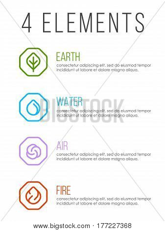 Nature 4 elements in line border abstract icon sign. Water Fire Earth Air. vector design