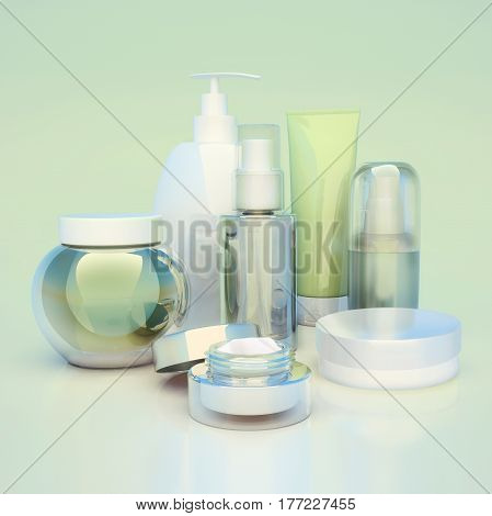 Set of cosmetic cream. Daily beauty care cosmetic. Face cream eye cream serum and lip balm. 3D illustration