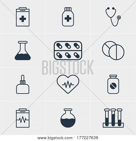 Vector Illustration Of 12 Medical Icons. Editable Pack Of Flask, Aspirin, Heart Rhythm And Other Elements.