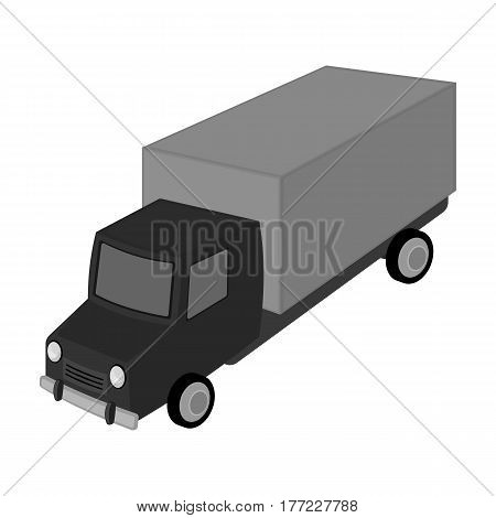 Red truck with a yellow body. The car for cargo transportation.Transport single icon in monochrome style vector symbol stock web illustration.