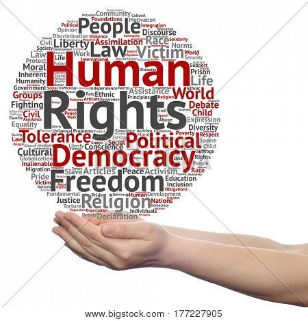 Concept or conceptual human rights political freedom or democracy circle word cloud in hand isolated on background