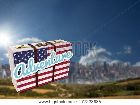 Digital composite of American Flag Luggage against mountain background
