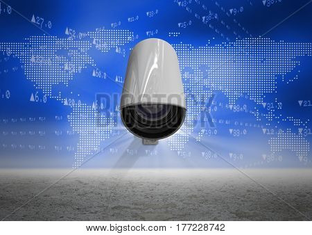 Digital Composite image of Security camera against white map background