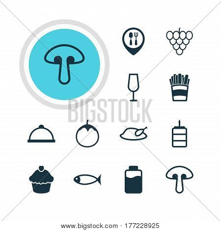 Vector Illustration Of 12 Dish Icons. Editable Pack Of Eggplant, Muscat, Grill And Other Elements.