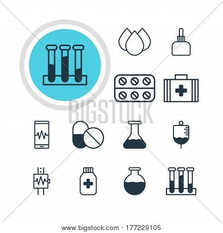 Vector Illustration Of 12 Health Icons. Editable Pack Of Heartbeat, Medical Bag, Medicine Jar And Other Elements.