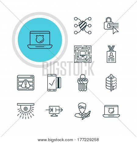 Vector Illustration Of 12 Protection Icons. Editable Pack Of Encoder, System Security, Safeguard And Other Elements.