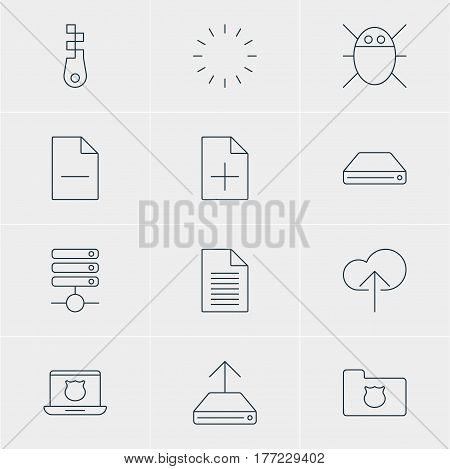 Vector Illustration Of 12 Web Icons. Editable Pack Of Privacy Doc, Hdd Sync, Removing File And Other Elements.