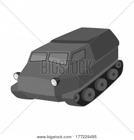 Tank for the marshes. Caterpillar transport of military.Transport single icon in monochrome style vector symbol stock web illustration.