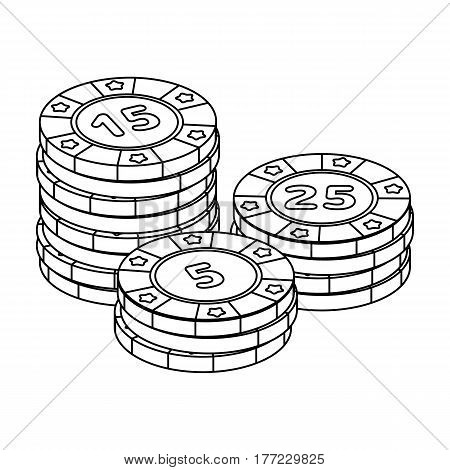 Playing chips. The settlement coin in the casino.Kasino single icon in outline style vector symbol stock web illustration.