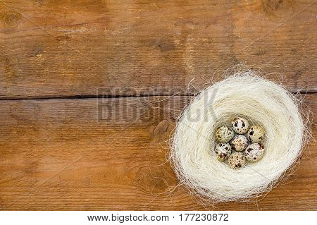 Nest With Quail Eggs On The Unpainted Brown Old Wooden Background.
