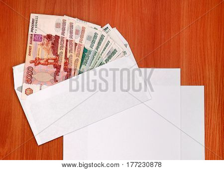 Envelope With Russian Money with Empty Paper closeup