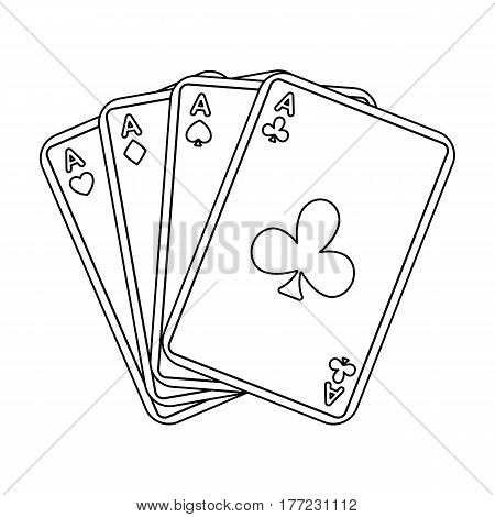 Playing plastic cards for playing poker in the casino. A popular game in the casino.Kasino single icon in outline style vector symbol stock web illustration.