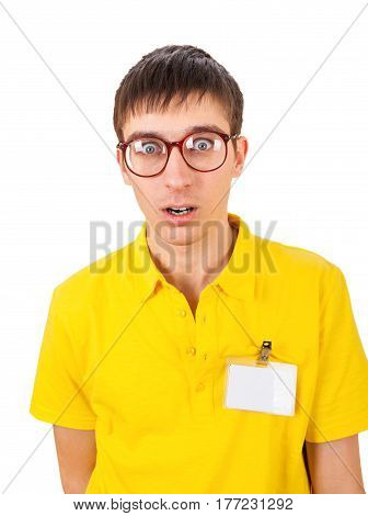 Surprised Young Man with Empty Badge on t-shirt Isolated on the White Background