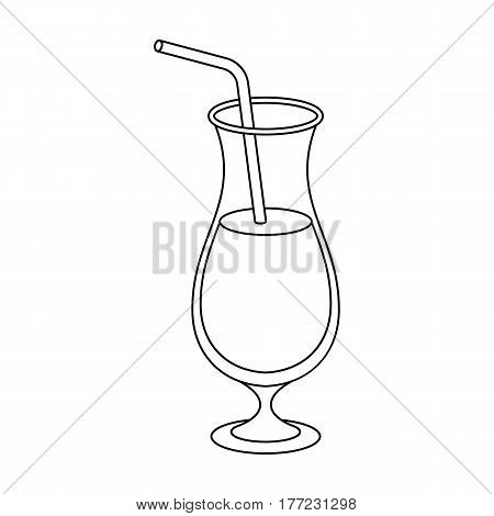 A cocktail in a glass with a straw. Drink for playing in the casino.Kasino single icon in outline style vector symbol stock web illustration.